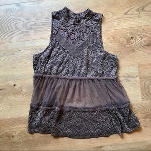 Maurice | taupe lace sleeveless blouse size large